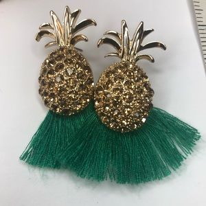 Express Pineapple Earrings with Green Fringe Trim